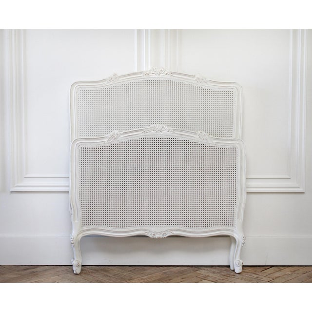 Reproduction Twin Carved and Painted Louis XV Style French Bed With Cane For Sale - Image 4 of 12