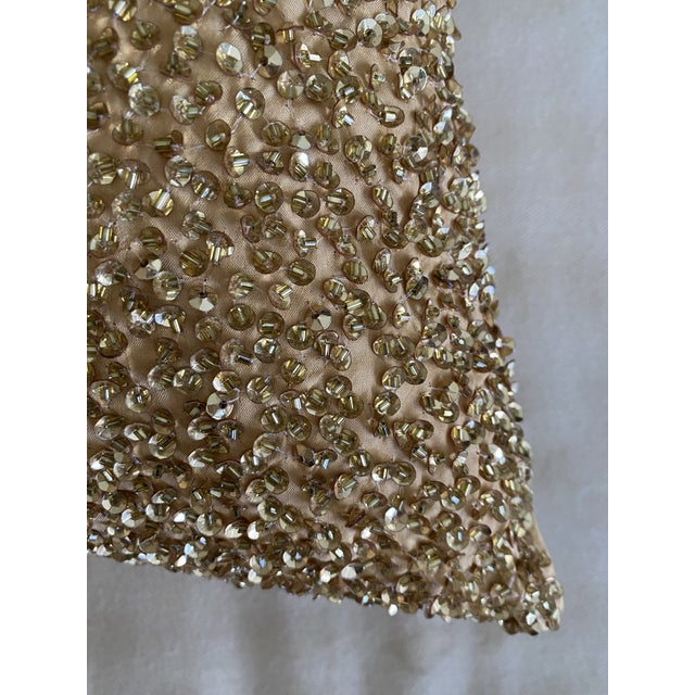 Metal Embroidered Gold Sequined Pillows - A Pair For Sale - Image 7 of 8