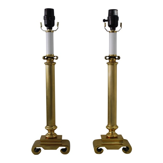 Neoclassical Brass Columnar Candlestick Table Lamps- A Pair - Image 1 of 11