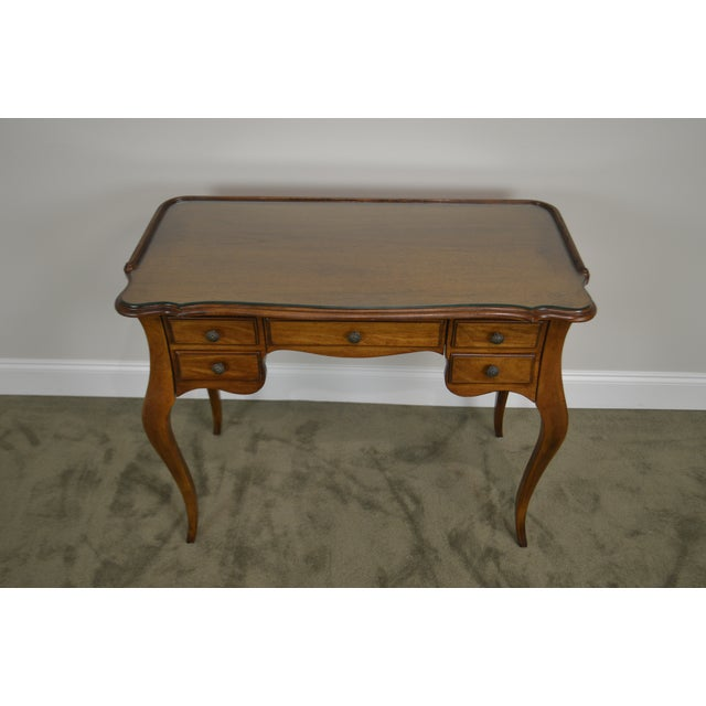 French Louis XV Style Vintage Walnut Small Writing Desk or Vanity For Sale - Image 9 of 13