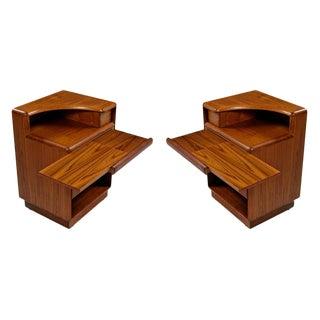 Brouer Mid-Century Modern Danish Teak Nightstands With Extending Table Top For Sale