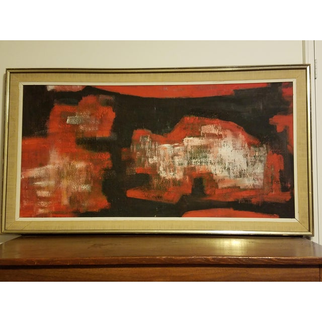 Mid-Century Abstract Oil Painting - Image 3 of 8