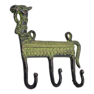 Bohemian Green Brass Camel Wall Hooks For Sale