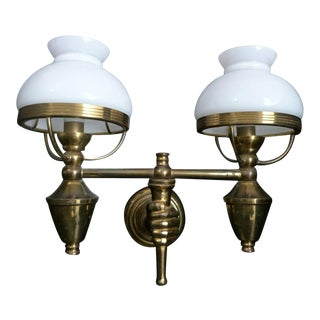 C1940's French Hollywood Regency Gilt Bronze Double Light Fist Holding Lamps Wall Sconce Styled After Andre Arbus For Sale