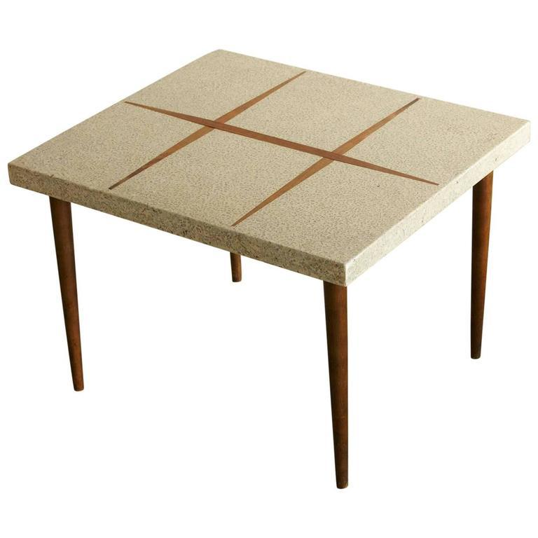 Mid Century Modern Rectangular Side Table With Walnut Inlaid Cream Colored Terrazzo  Top On Tapered