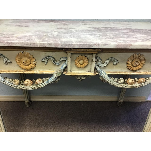19th Century Italian Marble Top Console Table For Sale - Image 9 of 12