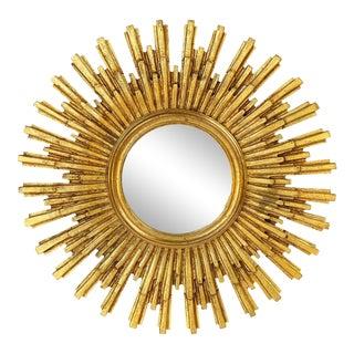 French Starburst or Sunburst Convex Mirror with Gilt Cast Frame For Sale