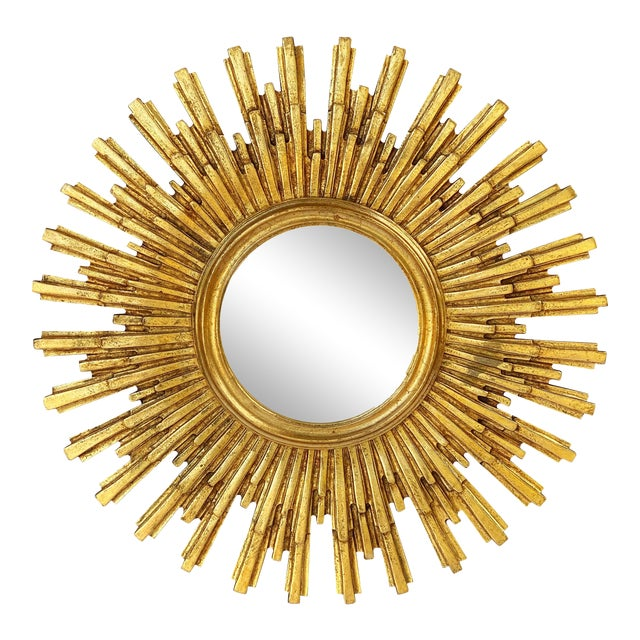 French Starburst or Sunburst Convex Mirror with Gilt Cast Frame For Sale