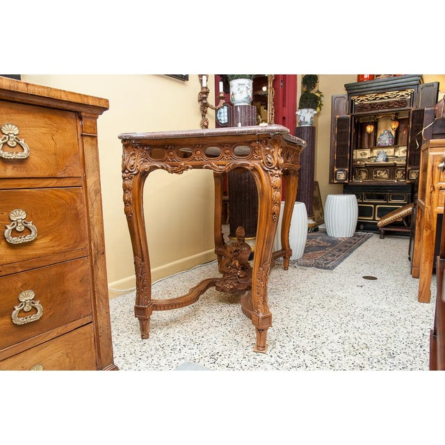 Marble top console For Sale In West Palm - Image 6 of 9