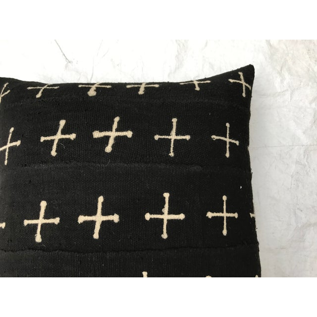 Black African Mali Tribal Cross Patterned Mud Cloth Pillows- A Pair For Sale - Image 8 of 10