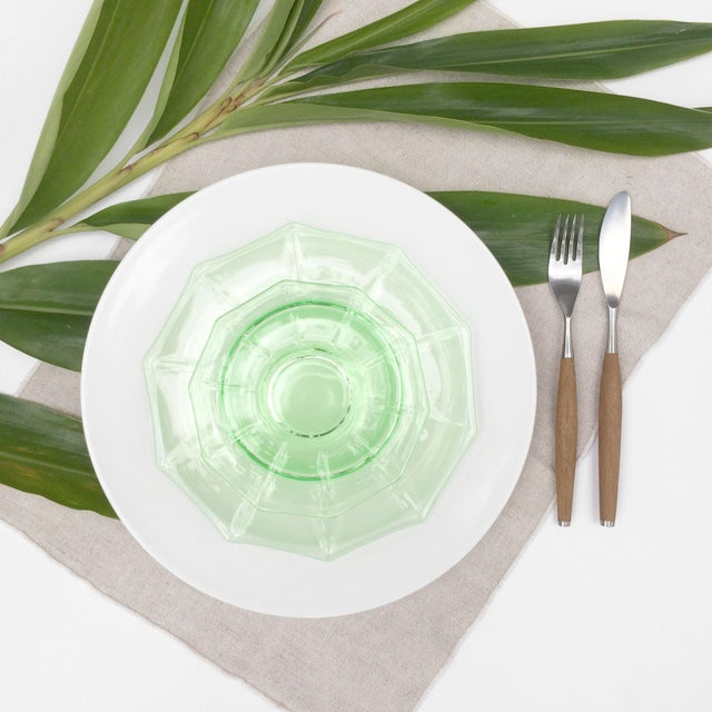 Antique Green Glass Luncheon & Dessert Plates - Set of 12 For Sale - Image 12 of 13