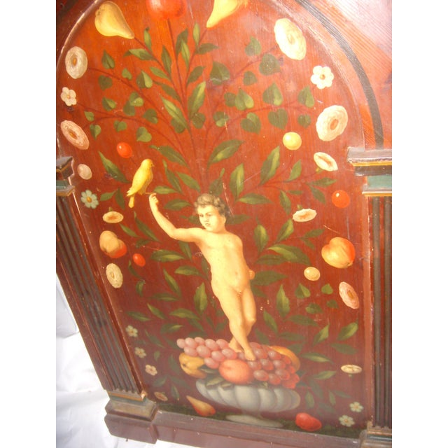 Antique Painted French Wood Panel of Cherub & Fruit & Bird - Image 6 of 11