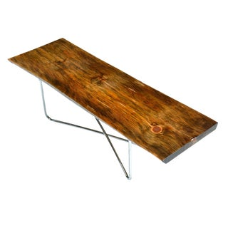 Live Edge Spalted Pine Coffee Table Bench For Sale