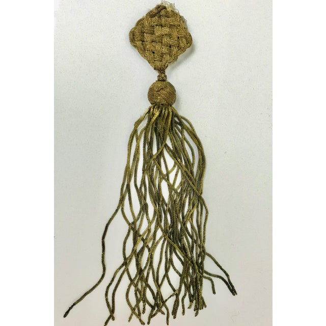 Late 19th Century Late 1800s Antique French Gold Metallic Bullion Tassel For Sale - Image 5 of 8