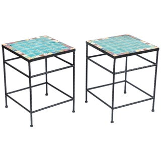 Pair of Vintage Black Iron and Tile Top Side Tables For Sale
