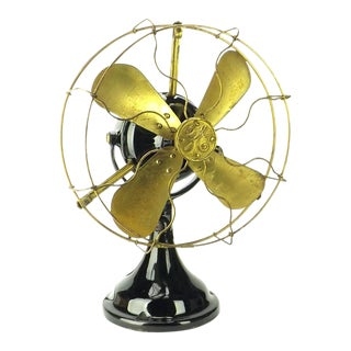1910s All Original Finish Bmy (Big Motor Yoke) Ge Electric Desk Fan For Sale