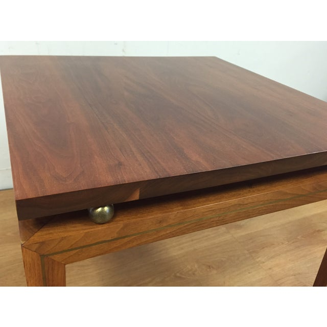 Mid-Century Solid Walnut & Brass Side Table - Image 9 of 11