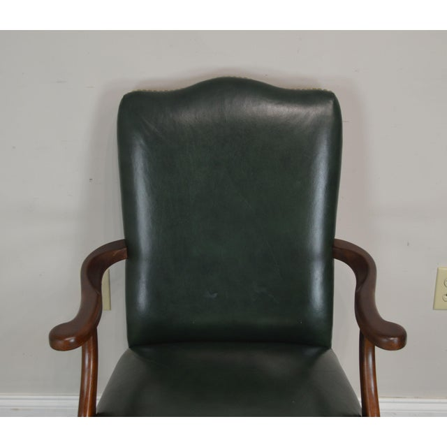 Green South Mark Green Leather Chippendale Style Ball & Claw Pair Armchairs (A) For Sale - Image 8 of 12