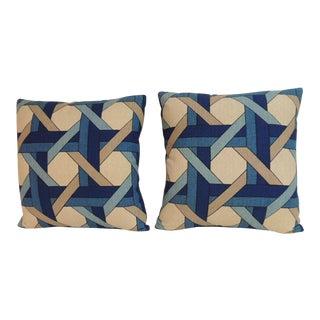 Pair of Vintage Trellis Barkcloth Decorative Pillows For Sale