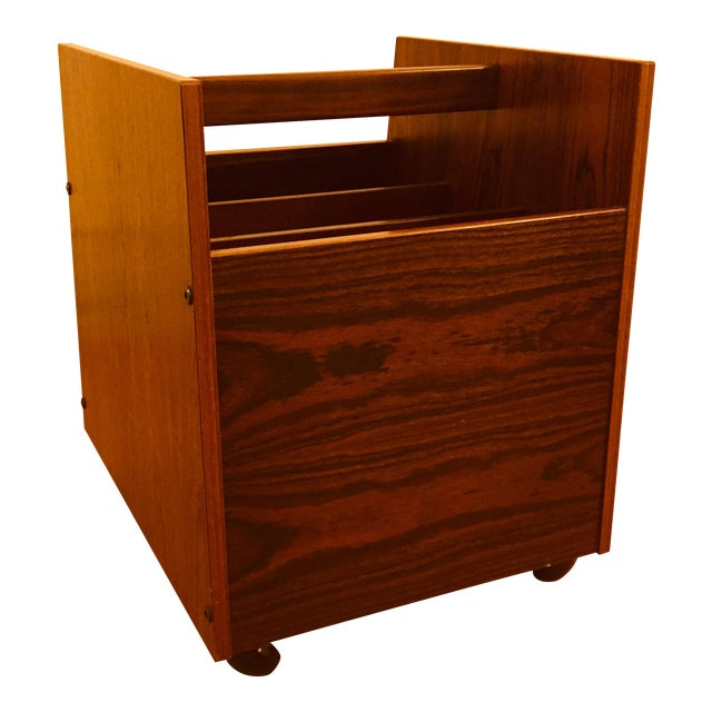 Rosewood Single Rolling MCM Record Album Holder by Rolf Hesland for Bruksbo, Norway For Sale