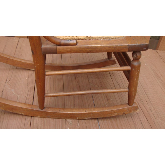 Brown Antique 18th C. Early American Ladderback Rocker Chair For Sale - Image 8 of 11