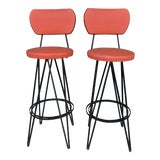 Image of Mid Century Modern Swivel Bar Stools- A Pair For Sale