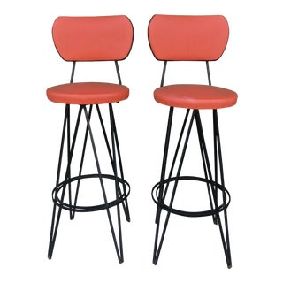 Mid Century Modern Swivel Bar Stools- A Pair For Sale