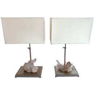 Rock Crystal Quartz Lamps, France, 1970s - a Pair For Sale