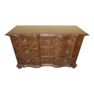 Vintage Italian Parquet Wood Top Serpentine Dresser For Sale