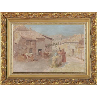 Continental European Oil Painting of a Bucolic Village