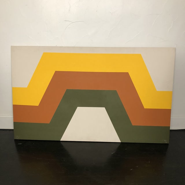 Mid-Century Modern 1970s Tri Stripe Original Paintings by Artifax - A Pair For Sale - Image 3 of 12