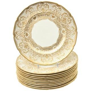 12 Elegant and Elaborate Heavy Gilt Encrusted Dinner or Presentation Plates For Sale