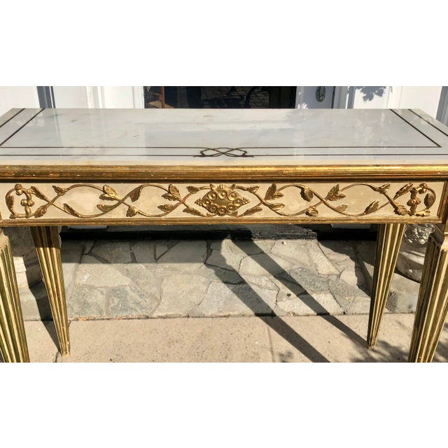 Antique Old Hollywood Cannell & Chaffin Louis XVI Inlaid Italian Marble Console Table For Sale - Image 4 of 7