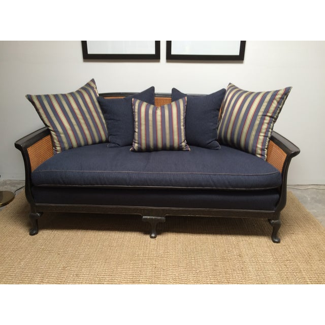 Chinoiserie Cane Back Settee With Pillows - Image 2 of 11