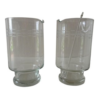 Mid-Century Etched Cocktail Martini Mixers- A Pair For Sale