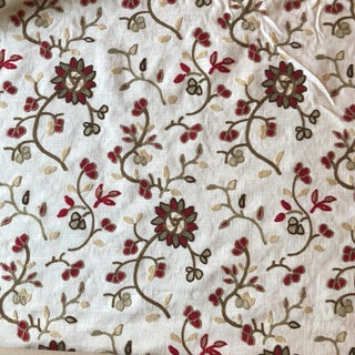 Embroidered Floral on White Fabric For Sale