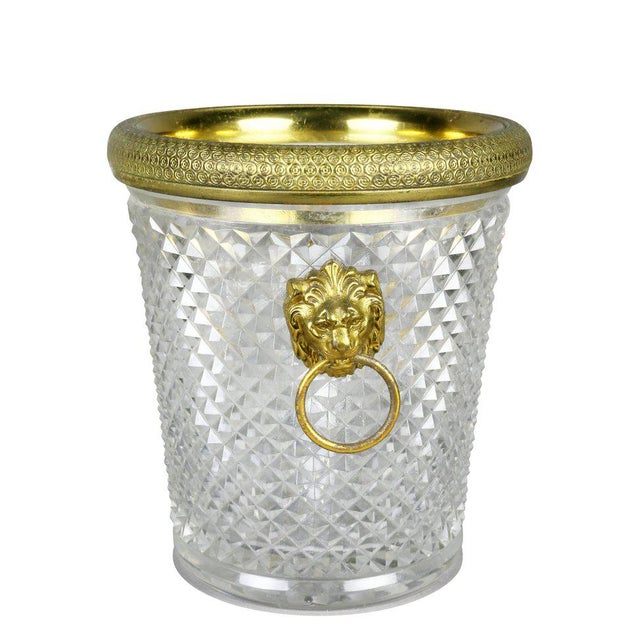 1930s French Cut Crystal Bottle Holder or Ice Pail For Sale - Image 5 of 9