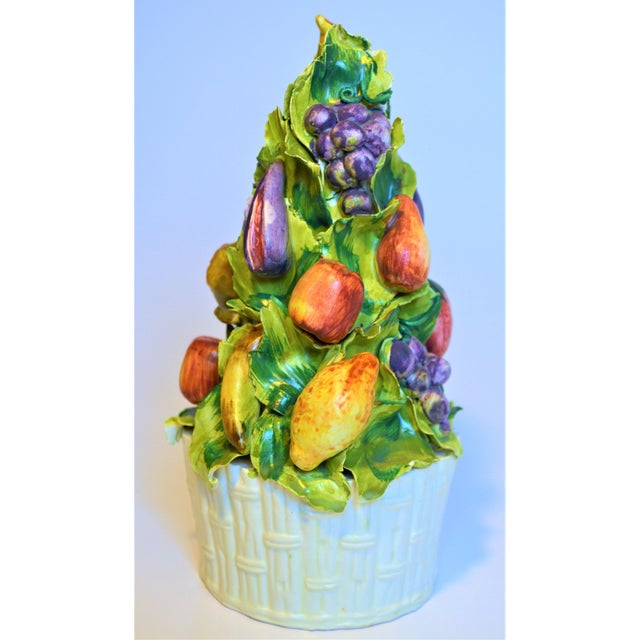 1970s Meiselman Imports Italian Majolica Fruit Topiary For Sale - Image 5 of 5