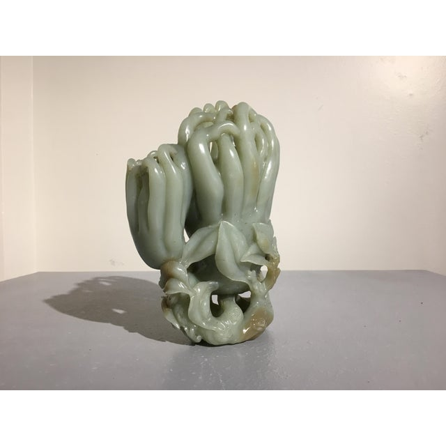 Late 19th Century Large Chinese Carved Celadon Jade Double Buddha Hand Vase For Sale - Image 5 of 11