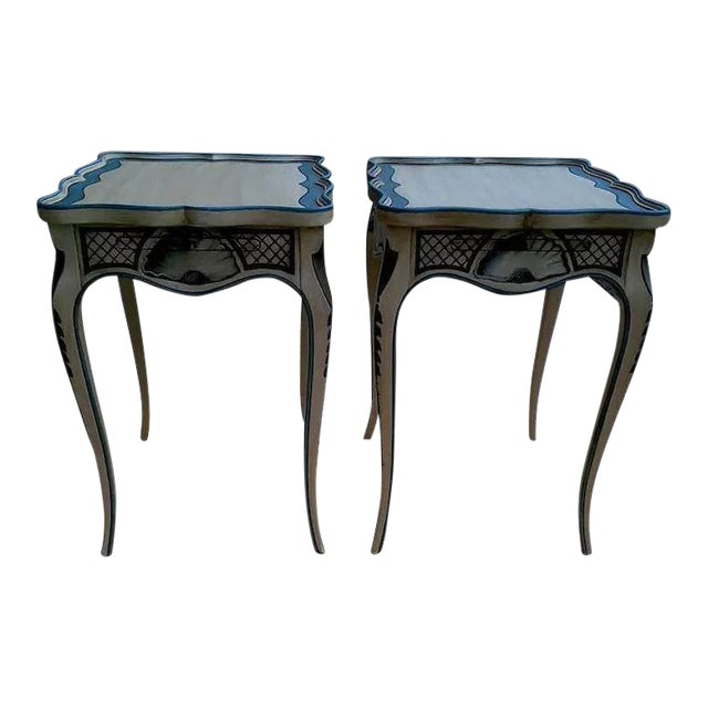 Tea Tables With French Style Paint Cabriole Legs and Candle Slides - a Pair For Sale