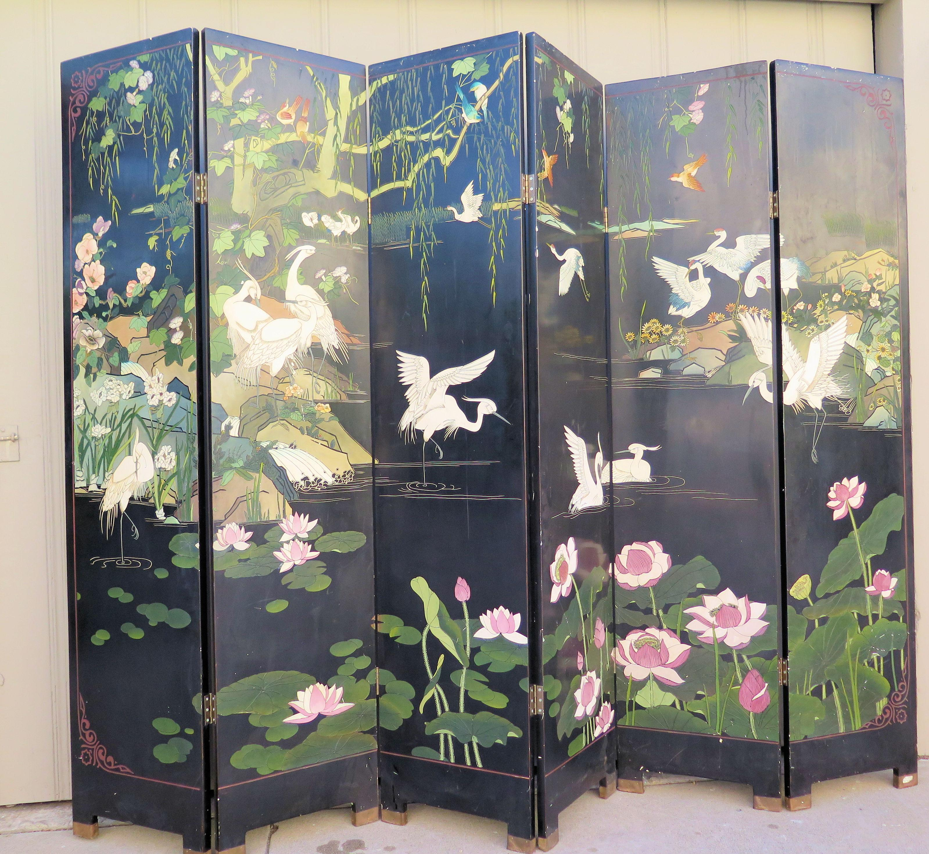 1940s Vintage Asian Folding Screen For Sale In Los Angeles   Image 6 Of 7