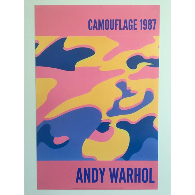"""Andy Warhol Original Lithograph Pop Art Poster """"Pink Camouflage"""" 1987 For Sale - Image 9 of 10"""
