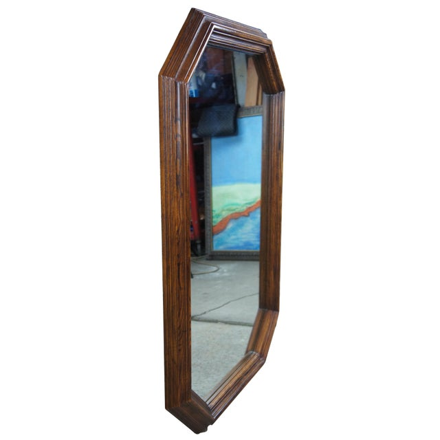 """Traditional 1979 Henredon Oak Octogon Shaped Traditional Vanity Dresser Wall Mirror 48"""" For Sale - Image 3 of 11"""