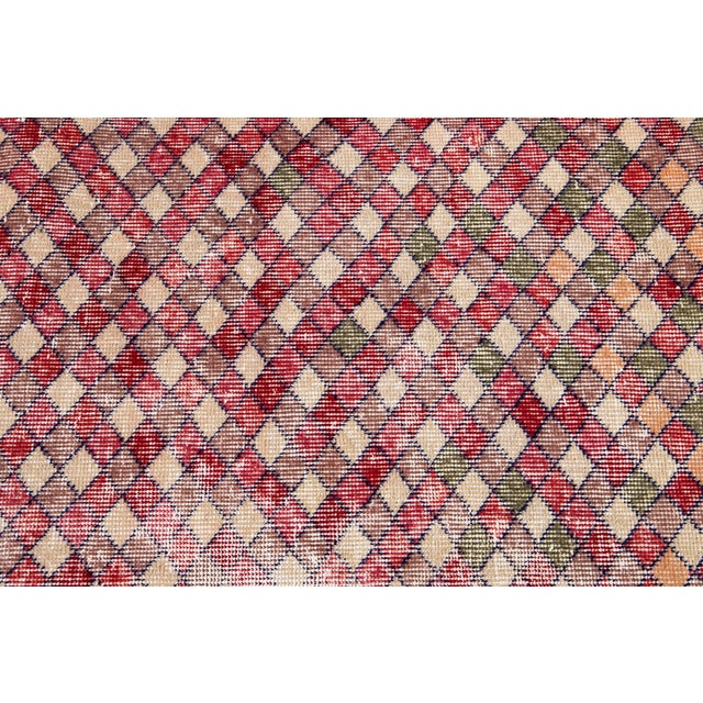 Red Mid 20th Century Vintage Art Deco Wool Runner Rug For Sale - Image 8 of 12