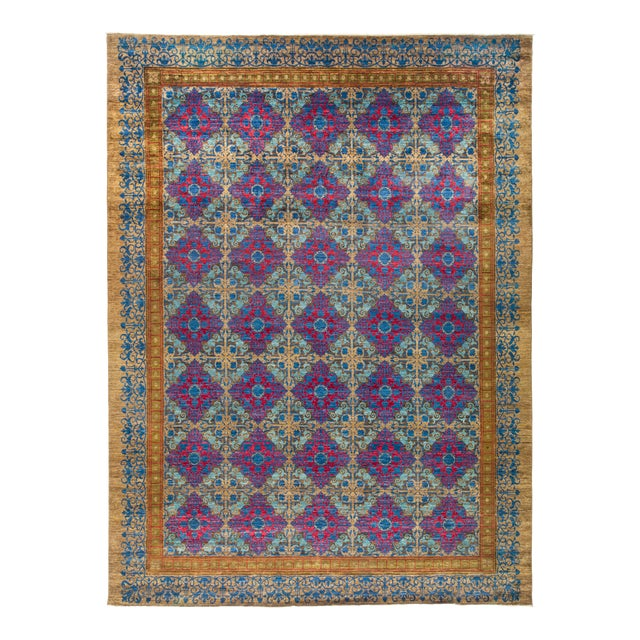 """Suzani Hand Knotted Area Rug - 12' 3"""" X 16' 3"""" - Image 1 of 4"""