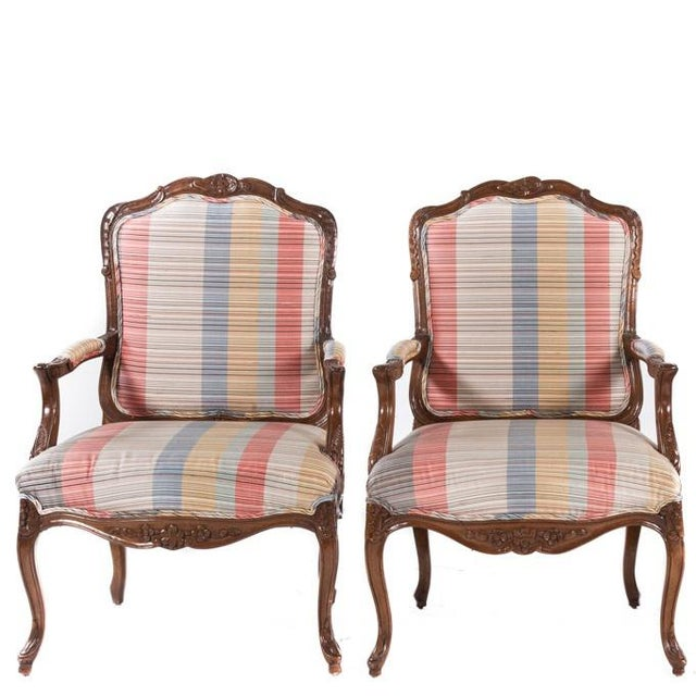 French Louis XV Style Carved Open Armchairs - A Pair For Sale - Image 4 of 4