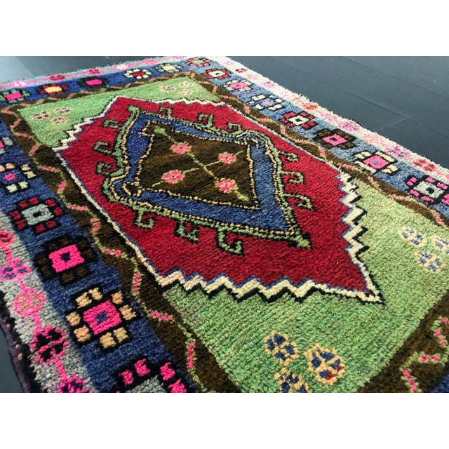 Traditional Anatolian Aztec Antique Blue Green Pink and Red Turkish Oushak Rug For Sale - Image 9 of 12