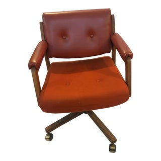1975 Frank Doerner Fabric Oak Swivel Office Chair For Sale