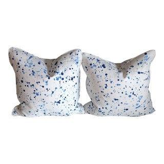 Peter Fasano Dash Sonic Blue Pillows- a Pair For Sale