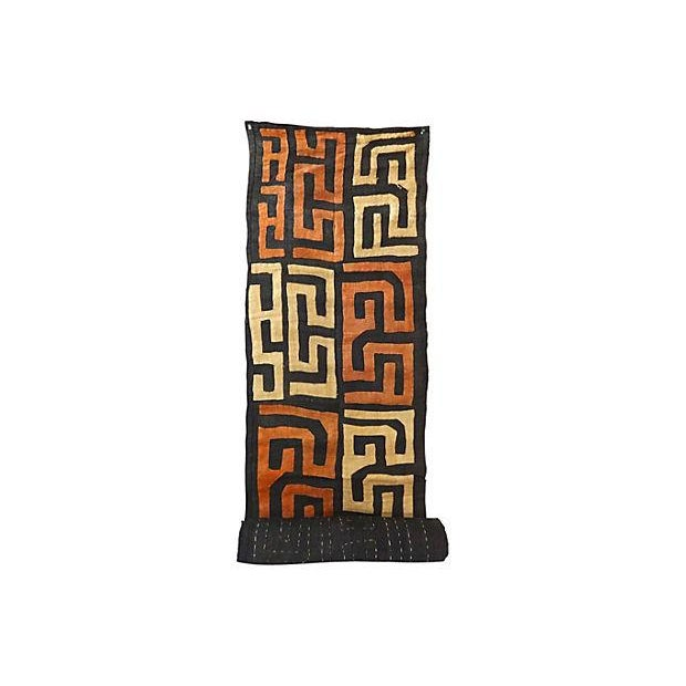Handwoven and embroidered raffia Kuba cloth textile wall hanging from the Democratic Republic of the Congo. Minor wear and...